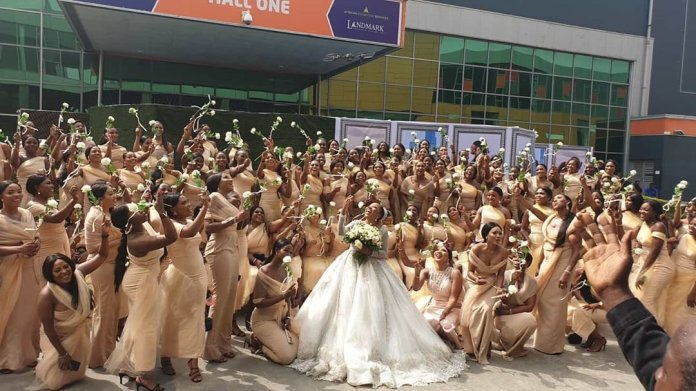 Sandra Ikeji Attempts Guinness Records with 200 Bridesmaids (PHOTOS)