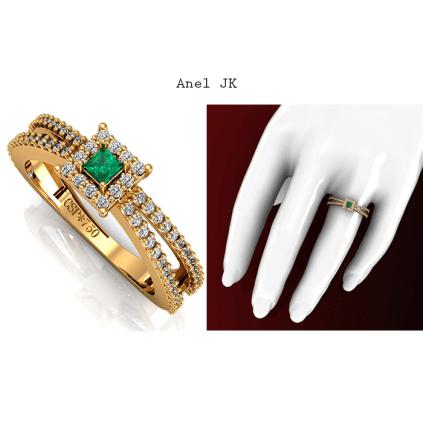 Anel JK reflete o brilho de 68 diamantes e uma Esmeralda delicadamente escolhida, possui 8 pontos e lapidação Carrê. https://www.casasaopaulojoias.com.br/produto/739847/jk-anel-de-ouro-com-esmeralda