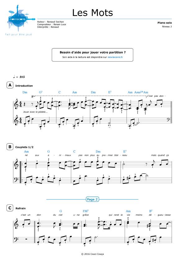 4 Mots Sur Un Piano Paroles : piano, paroles, Partition, Guitare, Piano