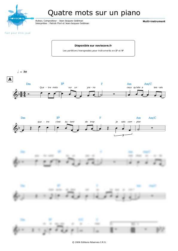 4 Mots Sur Un Piano Paroles : piano, paroles, Partition, Piano