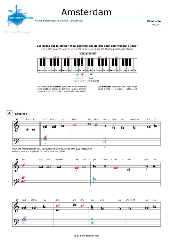 Jacques Brel Dans Le Port D'amsterdam : jacques, d'amsterdam, Partition, Piano, D'amsterdam