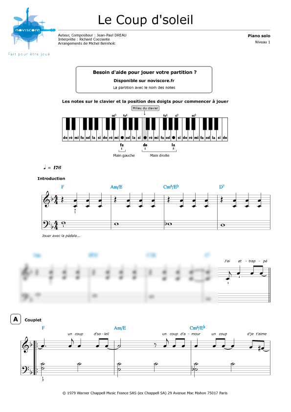 Coup De Soleil Chanson : soleil, chanson, Partition, Guitare, Soleil
