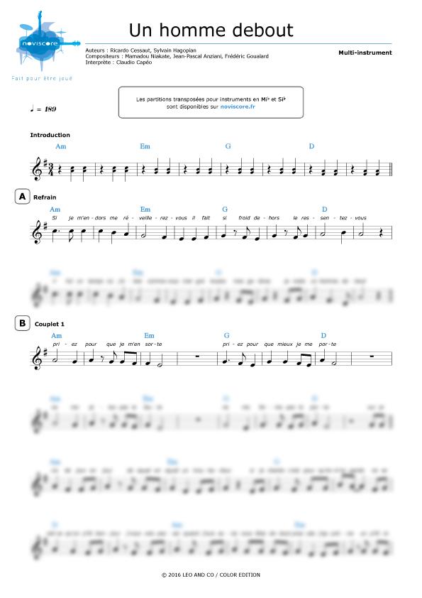 Chanson Un Homme Debout : chanson, homme, debout, Partition, Guitare, Homme, Debout
