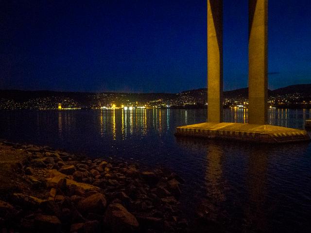 View of Hobart from under the Tasman Bridge