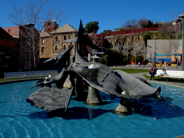 Jouney to Southland, Stephen Walker, 1979. Circular concrete fountain containing various bronze sculptural forms. Now located in Salamanca Square, it was originally sited at Risdon Cove.