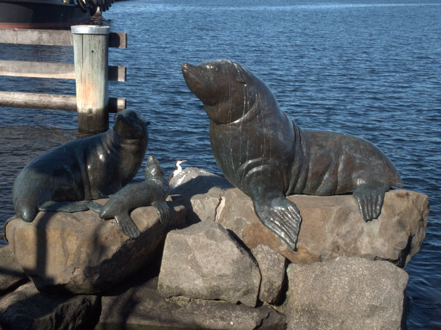 Heading South, Stephen Walker 1998. Bronze sculpture, located between Victoria Dock and Macquarie Wharf, Sullivans Cove
