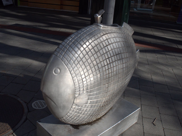 Fish out of Water, Patrick Hall 1996. Drinking fountain, located in the Elizabeth Street Mall