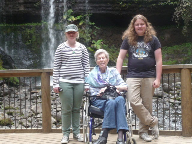 My niece, mum and nephew at Russell Falls on a family outing to Mount Field National Park