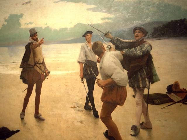 Men in tights: Frank William Bourdillon 'On Bideford Sands' (1889)