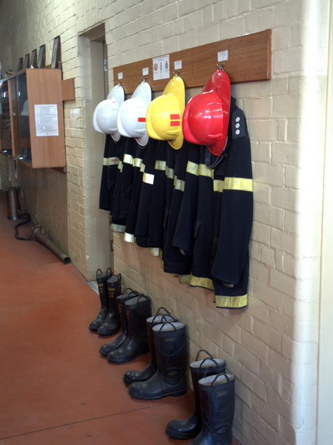 At the ready - inside the Tasmanian Fire Museum