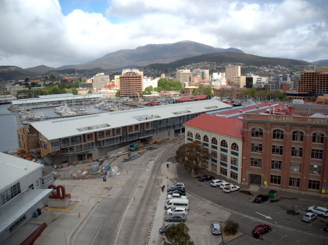 The city and its mountain from the Tasports Tower on Hobart's waterfront
