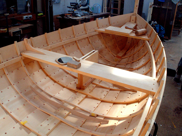 A huon pine boat under construction