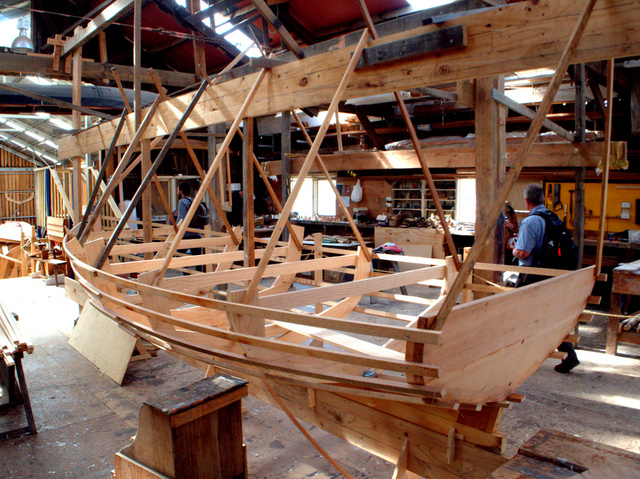 Boat being made using traditional handcraft techniques