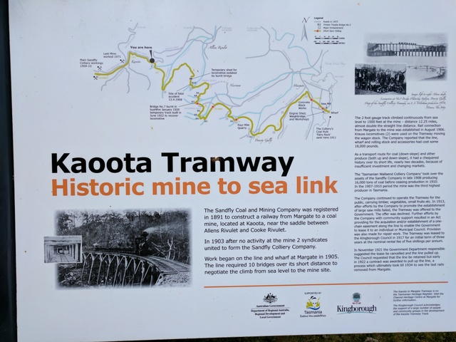 Historical display at the Kaoota end of the Tramway trail