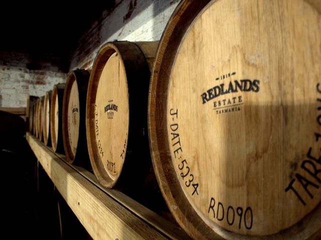 Barrels of whisky at Redlands Estate