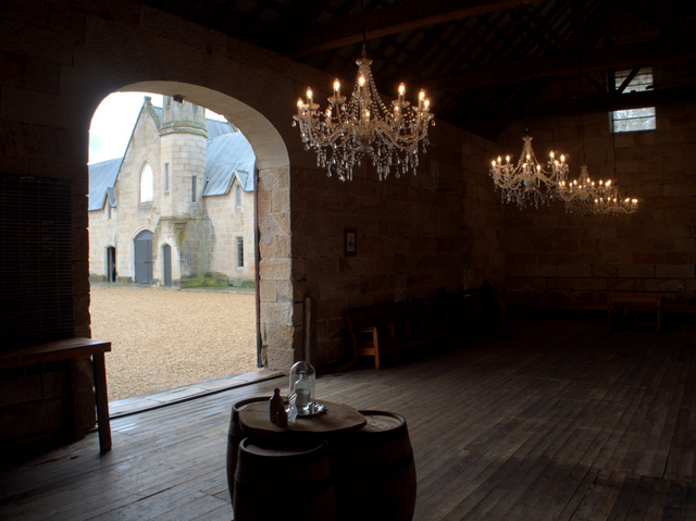 The stables viewed from inside the great barn at Shene Estate
