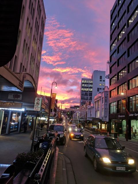 Sunset up Murray Street, Hobart