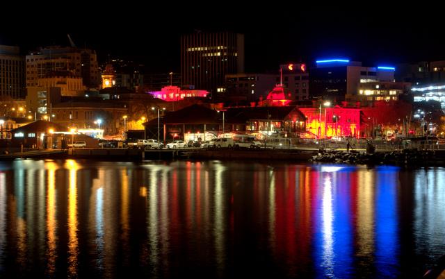 Hobart by night across Victoria Dock
