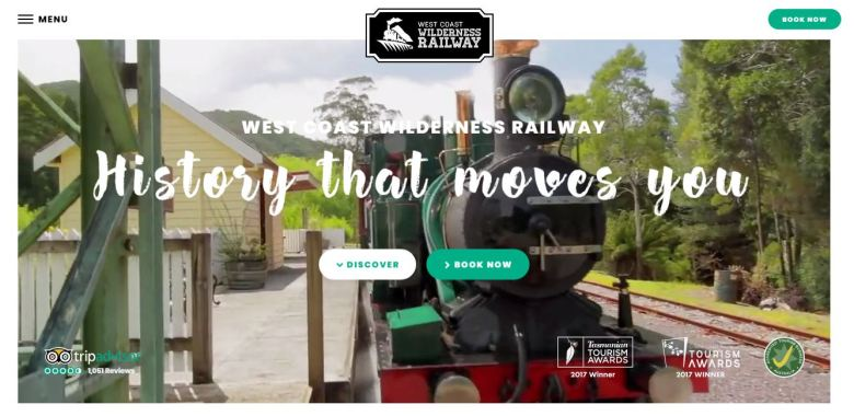 The new West Coast Wilderness Railway features a bold contemporary design with video imagery of the Railway's heritage steam trains and visitor experiences