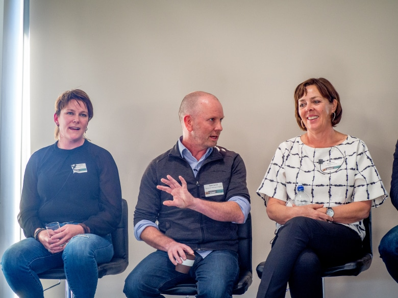 Madi Seeber-Peattie, Heath Garratt and Michelle Bain participate in a panel discussion at the 2018 Destination Southern Tasmania Summit