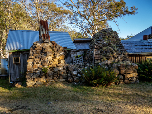 The heavy stone chimneys of the Steppes Homestead contrast the light timber construction of the dwelling and outbuildings, a sign perhaps of the harsh winters endured here