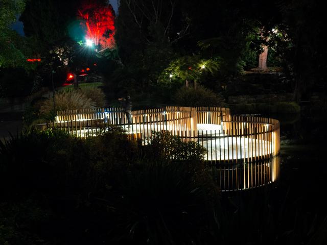Observation decks at the lily pond, Royal Tasmanian Botanical Gardens during Dark Path