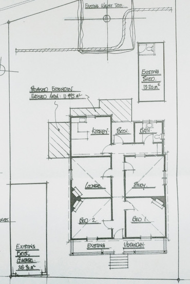 Sketch plan of the existing house