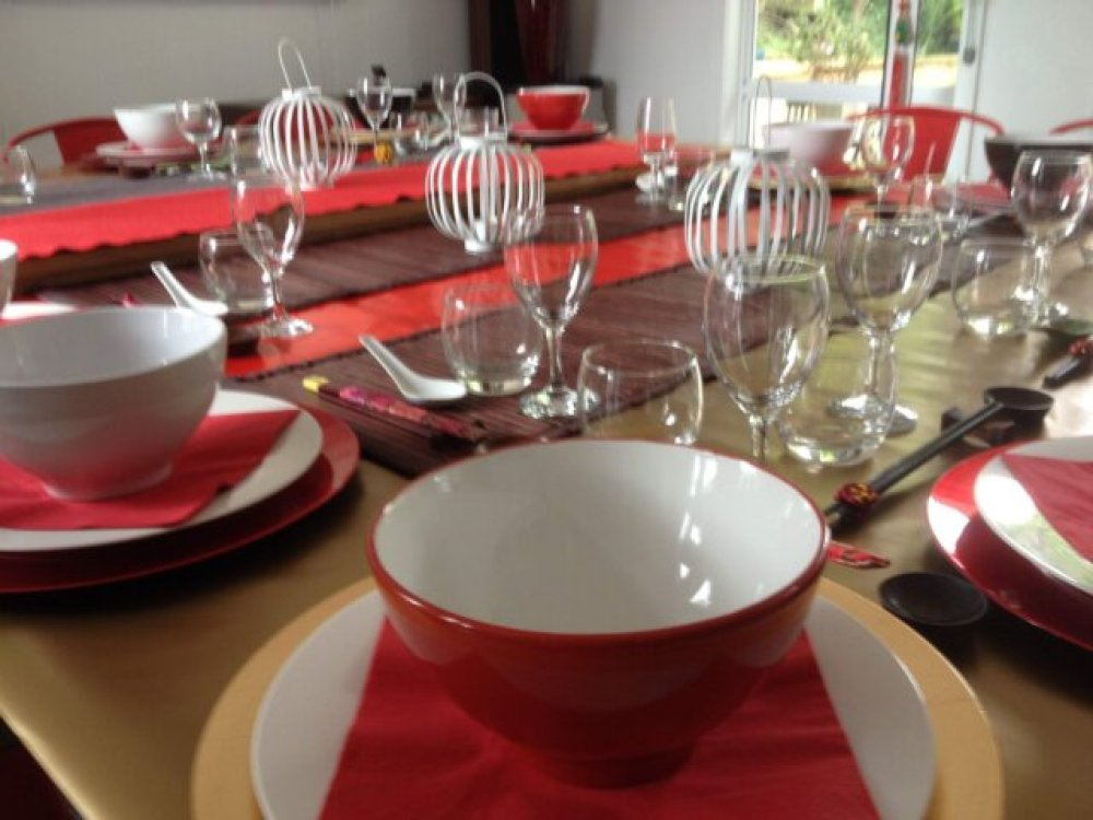 Dining room set up for the Vietnamese feast