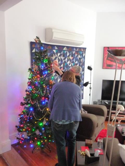 Julie and Irene decorating the tree. I said they could watch the cricket once it was done.