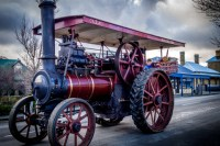 A steam traction engine clatters down the main street of Oatlands