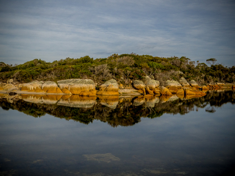 A river meets the sea in this lagoon on the coast in the Mount William Natioinal Park, NE Tasmania