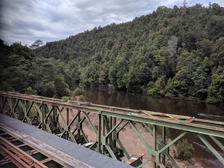 The King River from the new Quarter Mile Bridge on the West Coast Wilderness Railway line