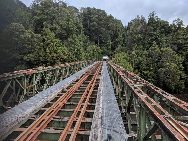The new Quarter Mile Bridge over the King River on the West Coast Wilderness Railway line