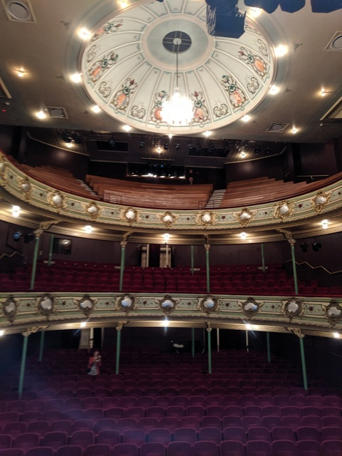 The three seating levels of the Theatre Royal are topped off by the dome, with George Davis' portaits of notable performing artists, writers & composers