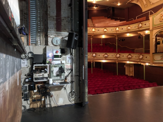 Prompt corner and a view into the house from the Theatre Royal stage