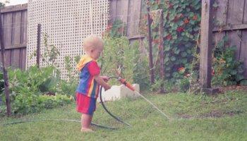 My nephew Alex aged around 2 years, helping with the gardening again…