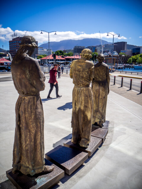 Sculpture by Rowan Gillespie, depicting recently-arrived convict women on Hobart's waterfront