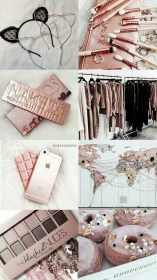 rose gold iphone girly lock screen collage wallpapers fond pink makeup pastel hd aesthetics resolution ecran maquillage 3d plus drawings