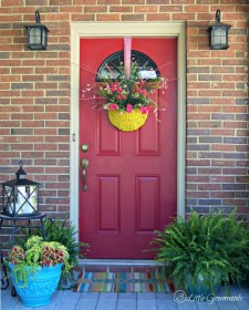 porch decorating southern spring diy door decor easy upcycled turquoise wreath pot refresh porches decorate basket plants inspiration budget noticed