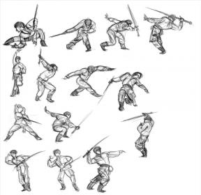 fighting sword poses pose drawing anime reference fight action handed sketch combat katana dibujo drawn cuerpo combate last teken bocetos