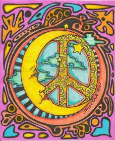 hippie peace moon trippy hippy cool psychedelic designs sun signs sign artwork peaceful dreama really singleton 1960s happy inspiration sm