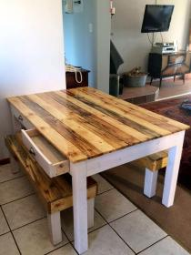 pallet dining table diy bench tables furniture wood benches pallets outdoor projects wooden patio garden chairs base rustic designs tabletop
