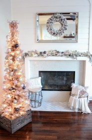 rose gold christmas tree decor light mantel 1111 lane holiday halls decking