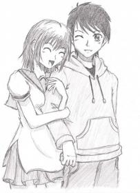 pencil couple couples sketches drawings drawing anime sketch easy happy boy friend gf cliche nugraha simple forehead glass cake designs