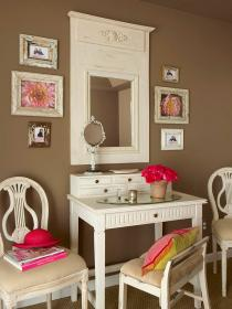 vanity makeup bathroom interior table decorating bedroom desk room space end decorate area marrom para mirror idea chocolate without beauty