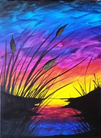 beginners acrylic painting easy canvas step sunset paintings paint cattails reboot beginner simple techniques tutorials lessons freejupiter very canvases drawing