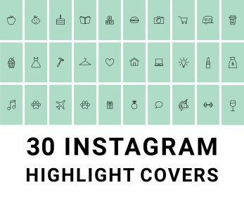30 Instagram Highlight Icons Green and Black Mimosa