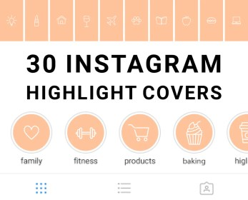 30 Instagram Highlight Icons Pastel Peach and White