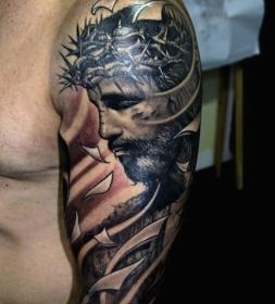 tattoos tattoo jesus christian religious sleeve arm shoulder upper half mens designs amazing christ badass looking left male colored meaningful