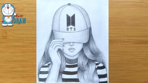 How to draw a Girl with Cap A Girl with BTS cap